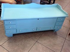 """Vintage cedar lined chest painted in """"old Chevy blue"""" #junkpaint #dirtywax #shabbychic #paintedfurniture #chalkpaint #restorationrebels"""