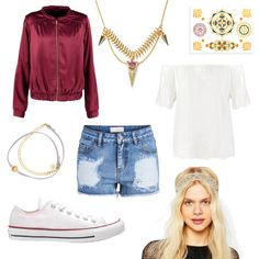 OneOutfitPerDay 2016-09-08 - #ootd #outfit #fashion #oneoutfitperday #fashionblogger #fashionbloggerde #frauenoutfit #herbstoutfit - Frauen Outfit Outfit des Tages Sommer Outfit Armband ASOS Blau Bomberjacke Celine H2o Chloé Converse Gold Haarband Jeans Shorts MORE & MORE Pieces Rosa SENCE Sence Copenhagen SIOOU Sneaker Spitze Vila