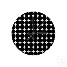 Funky, unique, fashionable, trendy and cool wallclock with beautiful black and white 50s, 60s, or 70s psychedelic abstract polka dots pattern design. For the hip fashion trend setter, vintage mod retro style, or decorative motif lover. Cute kid's, mom's or dad's birthday present, Father's or Mother's day, or Christmas gift. Original and fun wall clock for the master or children's bedroom, man cave, dining, living or family room, log cabin, beach house, cottage, vacation home or office.
