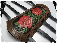 Tooled Leather Archery Arm Guard - This one is kind of pretty, as long as its really tiny. I hate how all the pretty ones are for beginners and could freaking eat your whole arm. Recurve Bow For Sale, Recurve Bows, Archery Shop, Archery Tips, Traditional Recurve Bow, Traditional Archery, Tooled Leather, Leather Tooling, Larp