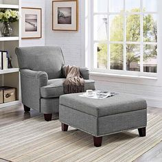 Grayson Linen Rolled Top Club Chair with Nailheads with Square Ottoman, Multiple Colors - Walmart.com