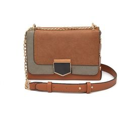 Ladies Autumn Winter Small Square One Shoulder Messenger Chain Bag (170 GTQ) ❤ liked on Polyvore featuring bags, rosegal, square bag, one shoulder bag, brown bag, single shoulder bag and messenger bags