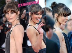 Milla Jovovich con moño alto y flequillo recto en Cannes Anne Hathaway, Elie Saab, Cannes, Milla Jovovich, Belleza Natural, Hair Makeup, Beauty, Blunt Fringe, Hair