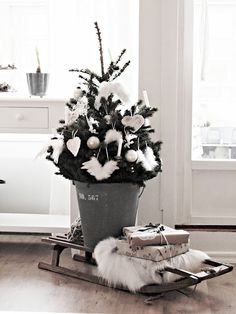 tiny rustic gray and white christmas tree.