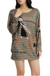 Cute Scoop Neck Long Sleeve Cartoon Print Stripe T-Shirt Dress For Women