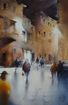 Ilya Ibryaev - Evening in Fabriano (Italy) - watercolor 53х35 cm