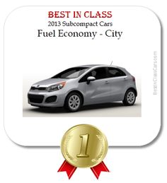 Make an efficient choice with the Rio, the Best in Class City Fuel Economy among 2013 subcompact cars