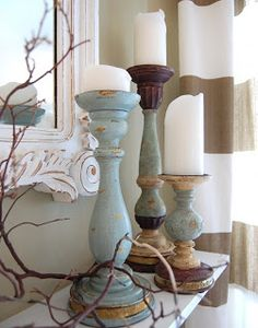 Re-paint old candlesticks with chalk paint for a fresh look! Larissa Hill Designs: Candlestick Makeover