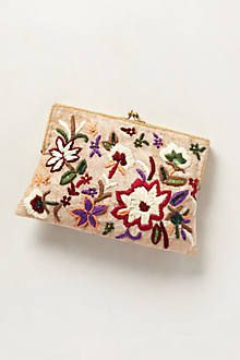 Embroidered Botanic Clutch