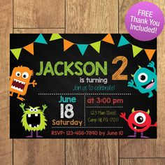 Silly Little Monsters Birthday Party Invitation by SarconeDesigns