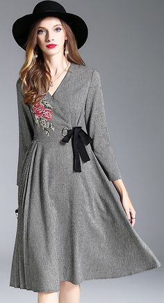 Fashion V-Neck Long Sleeve Embroidery Skater Dress
