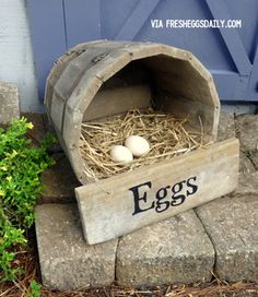 Fresh Eggs Daily: DIY Wine Barrel Nesting Box (okay but also what about a decorative version of this? Like by the driveway or something :D I'm picturing egg-shaped rocks, just for cuteness factor not to serve any purpose) Chicken Nesting Boxes, Building A Chicken Coop, Down On The Farm, Farms Living, Raising Chickens, Pet Chickens, Fancy Chickens, Keeping Chickens, Chicken Eggs