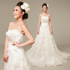 New White Lace Strapless Garden Church Wedding Dress Bridal Gown Shop SKU-118164