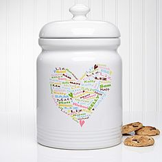 "This is such a cute gift idea! It's the ""Her Heart of Love"" Personalized cookie jar - you can personalize it by adding all of the kids or grandkids' name to form the shape of a cute heart! It comes in different colors too - such a great gift idea for Mom or Grandma!"