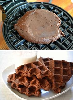 Brownie in waffle iron