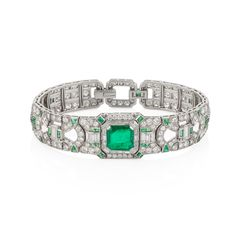 Emerald and Diamond Art Deco Bracelet available at Windsor Jewelers, Inc. in New York City