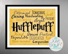 Harry Potter Hufflepuff Traits Print— Harry Potter Typography-- Hogwarts House of Hufflepuff Yellow Accent Wall Art-- Instant Download