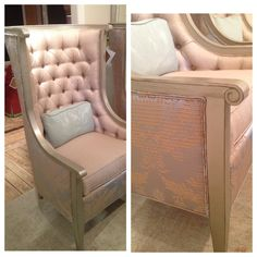 Stanford Furniture - Stunning new metallic silver finish & Aria fabric shown on the Pub chair. Trend - metallics, neutrals & soft blues. 435 N Wrenn #hpmkt #stylespotters #blue #metallic #style #tufted