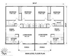 First Floor Plan of Traditional Multi-Family Plan 94480 use half for small house plan or open it up for a nice bedroom plan Duplex Floor Plans, Floor Plan 4 Bedroom, Apartment Floor Plans, House Floor Plans, Family House Plans, Dream House Plans, Small House Plans, Duplex Design, Murphy Bed Plans