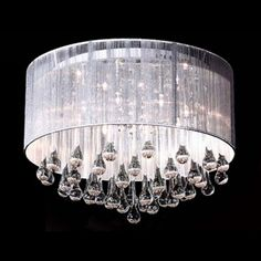 Brilliant Design Silken Drum Shade Gorgeous Crystal Raindrops Falling 8-Light Flush Mount