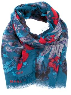 Blue scarf from Marc By Marc Jacobs featuring a red and purple floral  design and fringe ebcc1580fff