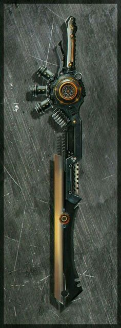 I imagine the bottom left of the blade folding out into a rifle.