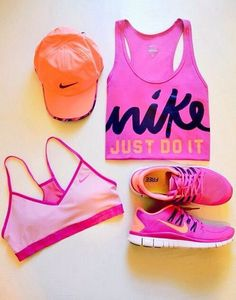 Pink Nike Workout clothes | Workout Outfit | Cute fitness apparel http://www.FitnessApparelExpress.com