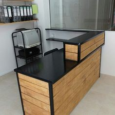 😎😎Learn how to build step by step woodworking projects with full guide Check the link in my BIO 🎁 GET NOW 👉 ________________ h Clothing Store Interior, Clothing Store Design, Boutique Interior, Cafe Interior Design, Cafe Design, Mobile Shop Design, Reception Desk Design, How To Build Steps, Barber Shop Decor