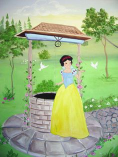Wishing well mural - children's decor