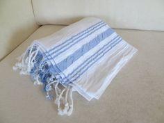 Organic Cotton Peshtemal, Turkish PESHTEMAL, White,Blue Striped Peshtemal-Spa,Bath,Beach,,Yoga,Pool,Fitness Towel by OttomanBazaars on Etsy