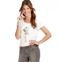 Loft Girl and Dog Graphic Cotton Tee - A girl's best friend is totally sweet, artistically inspired and a little bit sparkly. Scoop neck. Short sleeves. Banded neckline. Screenprint features chiffon, sequin and beaded details.