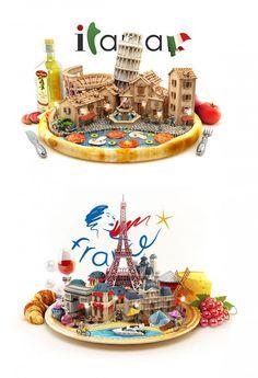 Battle of the Countries by Ilya Denisenko - Visual Arts - Creative Ideas & Inspiration Icon Design, Design Art, Graphic Design, Creative Advertising, Advertising Design, Bienes Raises, Crea Design, 3d Cinema, Isometric Art