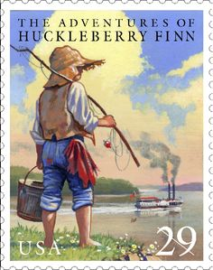 On February 18,1885, Mark Twain's widely considered greatest work Adventures of Huckleberry Finn was published for the first time in America. It was published a year earlier in England.  This stamp was issued in 1993 as part of the Classic Books pane.