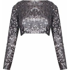 Grey sequins embellished full sleeves crop top available only at... (£113) ❤ liked on Polyvore featuring tops, sequin crop tops, crop top, cut-out crop tops, grey crop top and gray crop top