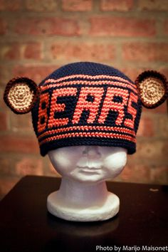 Personalized Chicago Bears Inspired Crocheted Cap