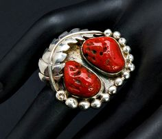 Coral Sterling Ring 70s Navajo Natural Coral Sterling