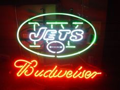 """NFL YORK JETS BUDWEISER BEER BAR CLUB NEON LIGHT SIGN (16"""" X 15"""") - Free Shipping Worldwide  ~ Voltage: 100-240v UL Transformers from NeonPro - Workable in all countries - US, UK, Canada, Japan, Australia, European Countries, & Others.  ~ Payment: Paypal / Credit Cards / Western Union.  ~ Delivery Time: 9-15 days to USA/Canada/Japan/Australia/Asian Countries; 12-18 days to European Countries/South American Countries; via a USPS/Hongkongpost/Canadapost tracking number, directly shipped from…"""