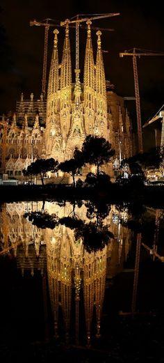La Sagrada Família, at night, Barcelona, Spain -- architect Antonio Gaudi