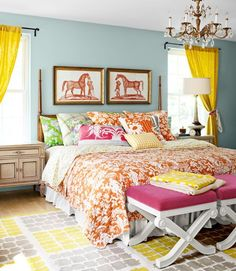What a bright beautiful equestrian bedroom