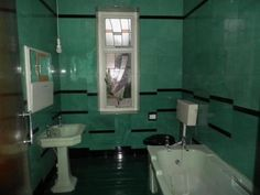 Art Deco bathroom. Stained glass