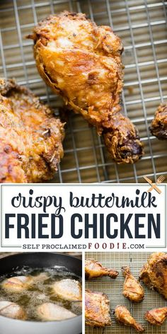 Buttermilk Fried Chicken is the ultimate comfort food! Bone in, skin on chicken is soaked in a buttermilk brine, coated, and fried until golden and crispy! #friedchicken #buttermilk #easy #crispy #recipe #deepfried #best Ground Chicken Recipes, Grilled Chicken Recipes, Easy Chicken Recipes, Beef Recipes, Family Recipes, Incredible Recipes, Great Recipes, Dinner Recipes, Yummy Recipes