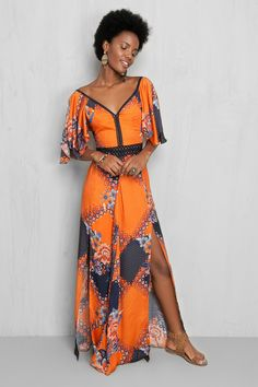 vestido longo estampado batik | Dress to