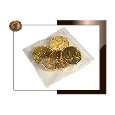 Chocolade munten per 5 stuks verpakt in transparant envelop zakje 20 gram. Smaak Melkchocolade. Te bestellen vanaf 500 stuks.  #chocolade #muntjes