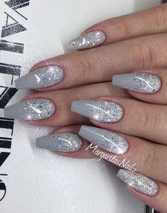 Winter Acrylic Nail Designs Idea pin kimmie louise on winter nails acrylic nail designs Winter Acrylic Nail Designs. Here is Winter Acrylic Nail Designs Idea for you. Winter Acrylic Nail Designs short acrylic nail designs you can use in s. Cute Acrylic Nails, Glitter Nail Art, Acrylic Nail Designs, Silver Acrylic Nails, Silver Glitter, Holiday Acrylic Nails, Silver Nail, Holiday Nails, Christmas Nails