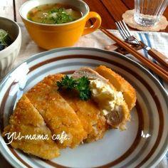 卵タルタルサラダ入りチキンカツ♡ 鶏肉かさ増し節約〜春雨中華サラダ、具沢山お味噌汁定食。