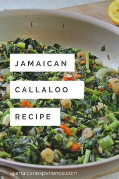 Jamaican Callaloo Recipe: Eat Your Veggies!- Callaloo Recipe: Eat Your Veggies! Jamaican Callaloo Recipe: Eat Your Veggies! Jamaican Cuisine, Jamaican Dishes, Jamaican Recipes, Beef Recipes, Vegetarian Recipes, Cooking Recipes, Healthy Recipes, Jamaican Appetizers, Jamaican Soup