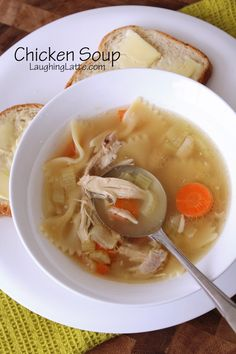 Homemade chicken soup with bone broth in your slow cooker! via Laughing Latte