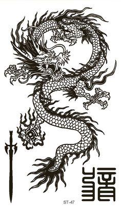 Dragon Tattoo For Women, Dragon Tattoo Designs, Dragon Tattoo Drawing, Dragon Tattoo Back, Dragon Drawings, Line Art Design, Line Art Tattoos, Tatoo Art, Arabic Tattoos