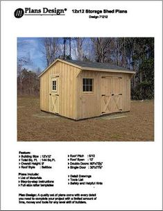 Backyard 12' X 12' Saltbox Style Storage Shed Project Pla...