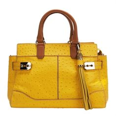 "Come on get happy with Rafe New York ""Roopal"" Ostrich Satchel. It's perfect for Spring!"